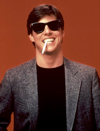 Tom Cruise wearing Wayfarer sunglasses in Risky Business