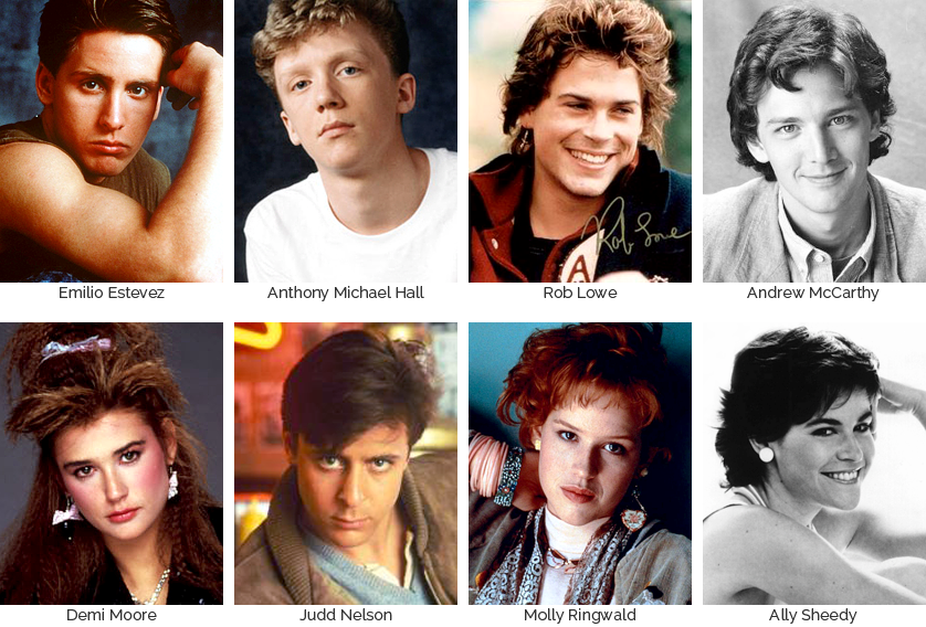 The Brat Pack: Emilio Estevez, Anthony Michael Hall, Rob Lowe, Andrew McCarthy, Demi Moore, Judd Nelson, Molly Ringwald, & Ally Sheedy