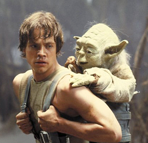 Master Yoda trains Luke to be a Jedi
