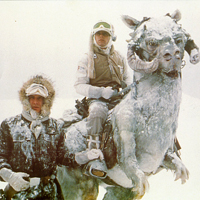 Luke and Hans Solo use Tauntaun to patrol planet Hoth
