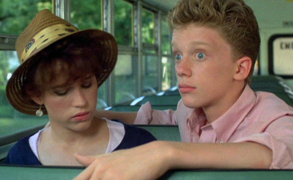 "Farmer Ted aka ""The Geek"" (Anthony Michael Hall) with Samantha Baker (Molly Ringwald) in ""Sixteen Candles."""