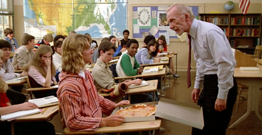 Mr. Hand (Ray Walston) vs. Spicoli and the pizza