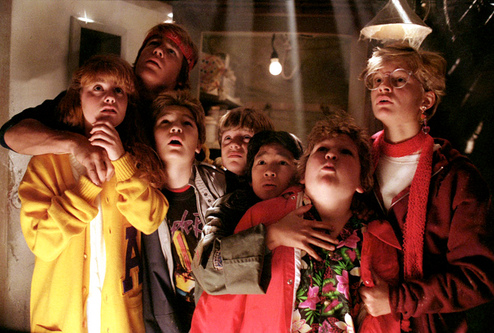 The Goonies get scared in the cave while searching for the lost treasure