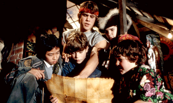 The Goonies discover One Eye Willie's treasure map.