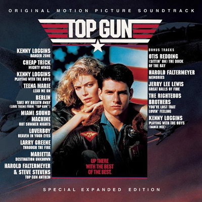 "Top Gun soundtrack featuring Kenny Loggins' ""Danger Zone"" and ""Playing With the Boys."""