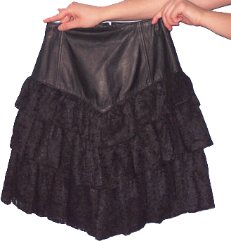 Black leather mini skirt with lace ruffles