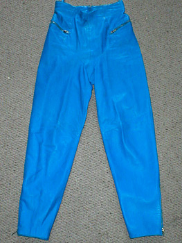 Electric blue leather pants