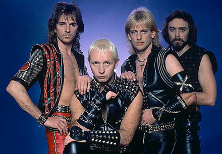 Judas Priest rockin' leather with studs and barbed wire