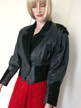 80s leather ladies jacket with origami-inspired shoulders