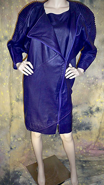 Deep purple leather dress with full length zipper