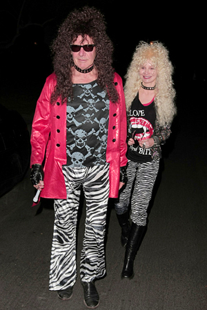 Harrison Ford and Calista Flockhart rocked 80s hair band looks for Halloween (2011).