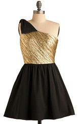 Black & gold 80s inspired dress by ModCloth