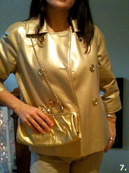 Julie in her metallic gold pleather swing coat