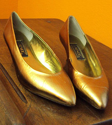 Gold kitten heels from Don't Stop Vintage