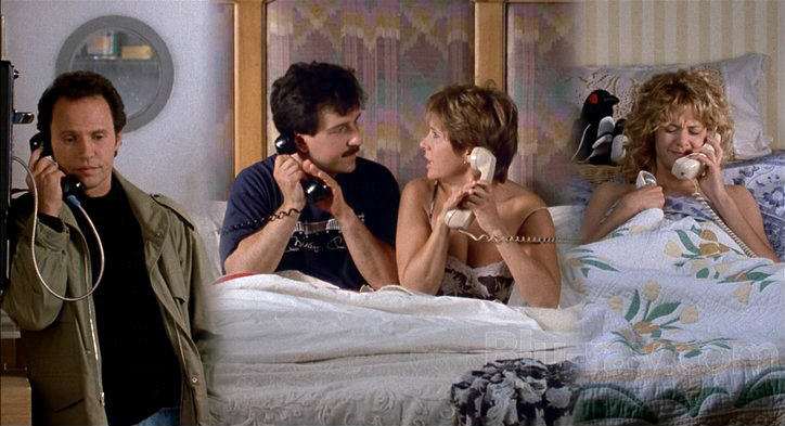 Marie & Jess (Carrie Fisher & Bruno Kirby) on the phone with Harry & Sally