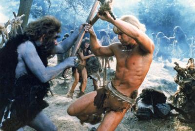 Yor fighting the purple cavemen