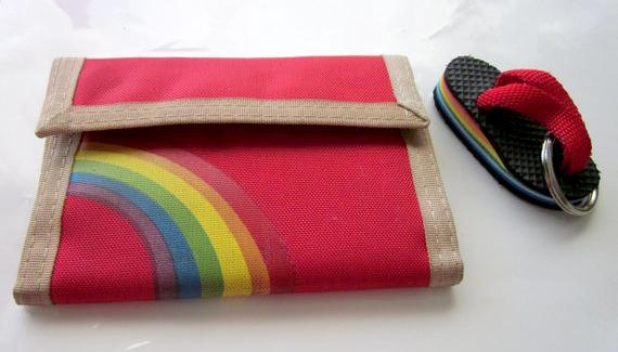 Rainbow velcro wallet and rainbow flip flop keychain