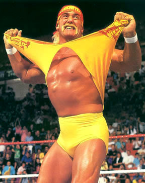 Hulk Hogan rips off his shirt