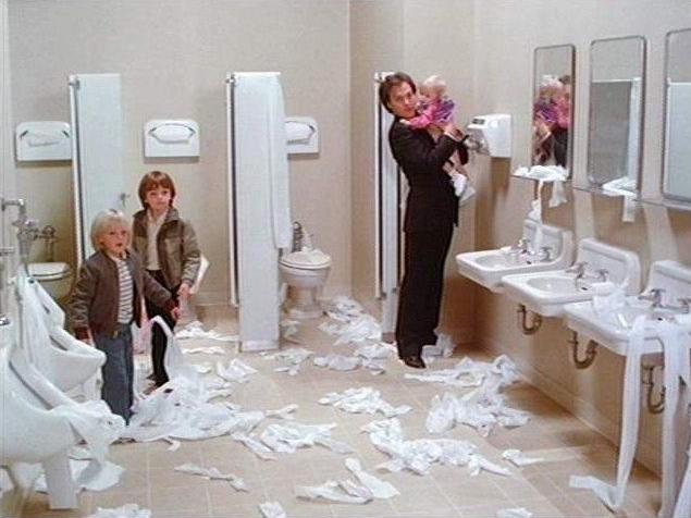 Mr. Mom bathroom scene