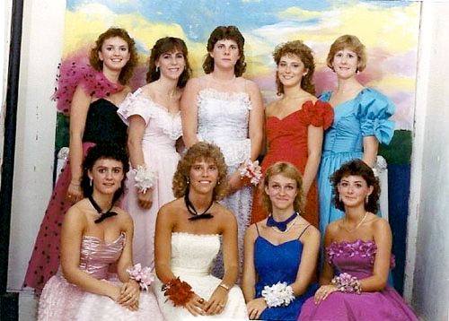 These awesome 80s gals have ruffles, bows, lace and wrist corsages galore.
