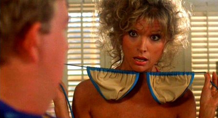 Hot woman who is constantly showing her boob job off to men and asking their opinion in Summer Rental.
