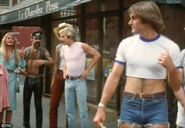 Bruce Jenner in the 80s in a crop top