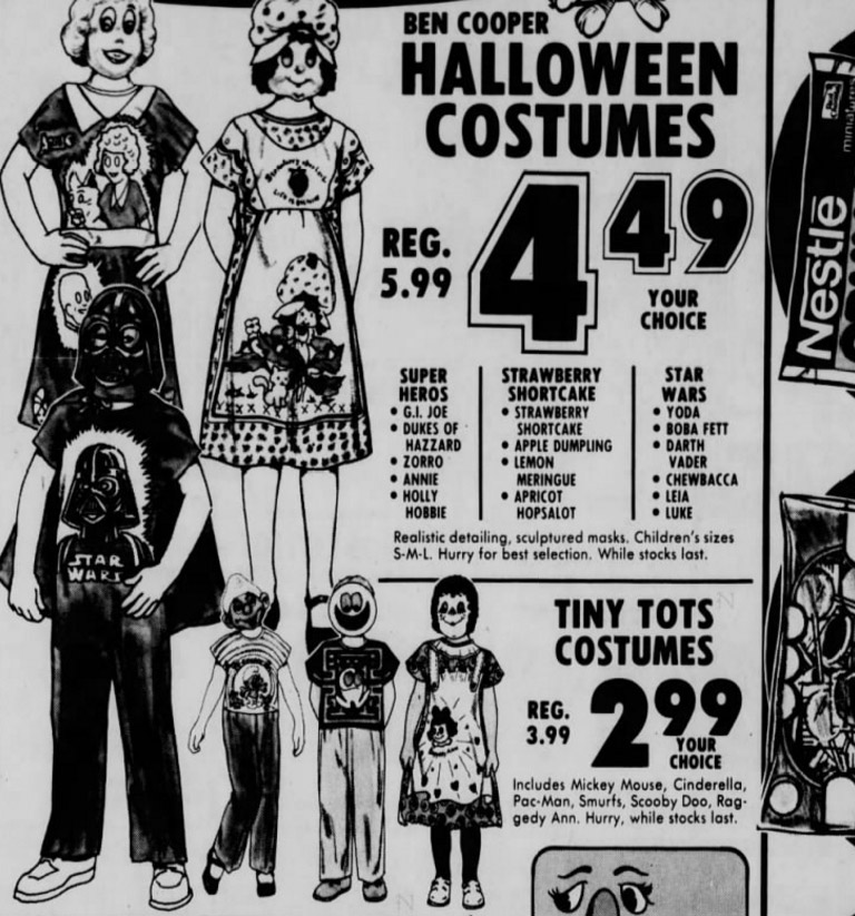 80s Halloween costumes with plastic mask ad