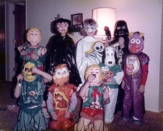 80s Kids in their Halloween platic mask costumes