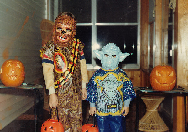 Star Wars Chewbacca and Yoda 80s Halloween costumes with masks