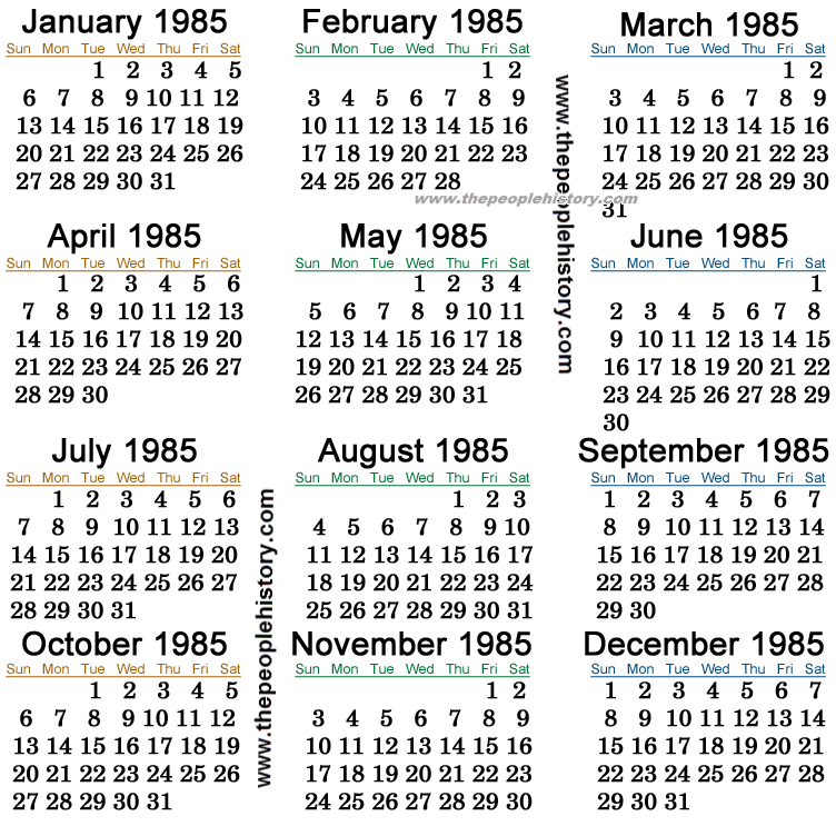 1985 Calendar.Like Totally 80s What Life Was Like In 1985 Like Totally 80s